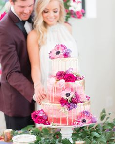 Pink ombre three tiered cake with pink and purple flowers from Olexa's by Eric and Jamie Photography | The Pink Bride®️️ www.thepinkbride.com