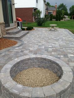 Stone patio with built in fire pit - patio ideas Awesome Paver Patio Ideas with Building Tips That Really Pops and Outdoor # Stone Patio Designs, Paver Designs, Backyard Patio Designs, Backyard Landscaping, Patio Stone, Stone Patios, Pavers Patio, Backyard Decks, Diy Patio
