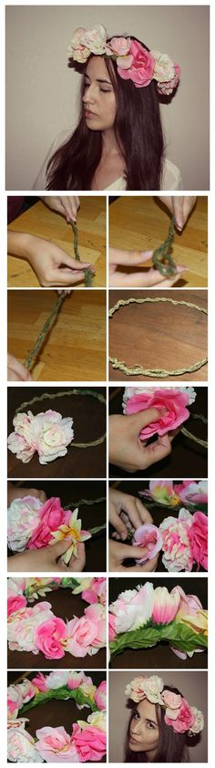 The Chic Country Girl: DIY Flower Crown http://thechiccountrygirl.blogspot.com/2014/07/fashion-diy-floral-crown.html