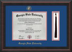 GSU Diploma Frame-Mahog Braid-w/GSU Seal-Tassel-Royal Blue on Red mat – Professional Framing Company