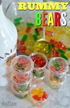 Try soaking Gummy Bears in your favorite Rum for an excellent tasting adult treat to liven up your next party! Try soaking Gummy Bears in your favorite Rum for an excellent tasting adult treat to liven up your next party! Alcohol Gummy Bears, Drunken Gummy Bears, Alcohol Candy, Birthday Drinks, Party Drinks, Fun Drinks, Birthday Games, 21st Birthday, Beverages