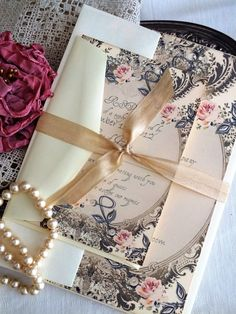 Vintage Romantic Wedding Invitation Handmade by avintageobsession on etsy