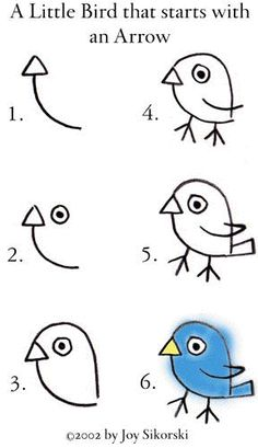 How to draw  a little bird starting with an arrow - momentulzero