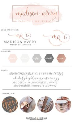 Watercolor Logo Design / Custom Logo design / Rose Gold Photography Branding Kit / Premade branding package / Stamp watermark Calligraphy