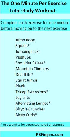 DAY 29: One Minute Per Exercise Total Body Workout