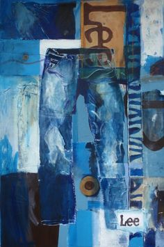 Deconstruction Jeans - acrylic, marker, recycled paper, canvas and denim on canvas, x 2011 Raul Gutierrez, Denim Art, Lee Jeans, Fabric Manipulation, Deconstruction, Upcycle, Drawings, Creative, Illustration