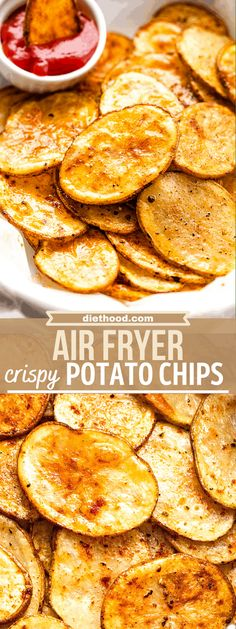 Light, crispy and delicious, these easy homemade potato chips are seasoned simply with salt and pepper and cooked to perfection in the Air Fryer. They're sure to become your new go-to salty snack!