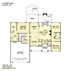 House plan 1517 has been named The Gavin and is now available! This one-story design features a modest floor plan with a thoughful layout. Ranch House Plans, Cottage House Plans, Craftsman House Plans, Country House Plans, Cottage Living, Craftsman Style, Simple House Plans, New House Plans, Dream House Plans