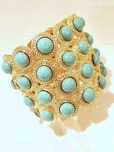 Merola Turquoise Stretch Cuff - Mctrstr48 - Bracelets - Jewelery - by Merola - Summery Turquoise and Pretty Gold -  Girl Could Need Both