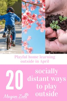20 socially distant ways to play outside in April #homelearning #shelterinplay #outsideplay #outdoorplay