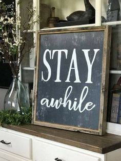 Stay Awhile Distressed Gray Farmhouse Style Framed Sign #rustic #ad #farmhousestyle #sign #gray #wood #distressed #fixerupper #farmhouse #walldecor #homedecor #stayawhile