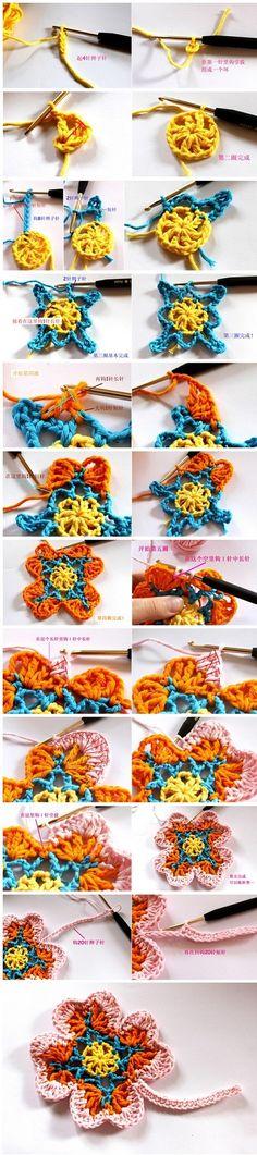 Crochet Flower - Chart by allie Crochet Diy, Beau Crochet, Crochet Amigurumi, Crochet Motifs, Crochet Diagram, Freeform Crochet, Crochet Chart, Crochet Squares, Love Crochet