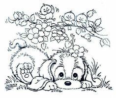 stamp - lttle puppy and birds Dog Coloring Page, Cute Coloring Pages, Animal Coloring Pages, Printable Coloring Pages, Adult Coloring Pages, Coloring Sheets, Coloring Pages For Kids, Coloring Books, Precious Moments Coloring Pages