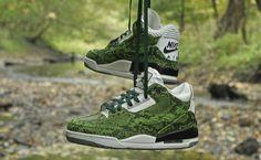 "Air Jordan 3 ""Green Python"" Custom"