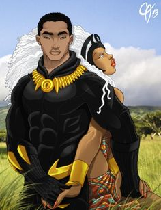 Black Panther & Storm, by Harvey Cahn Jr Black Panther Storm, Black Panther Art, Black Panther Marvel, Black Love Art, Black Girl Art, Black Is Beautiful, Comic Book Characters, Comic Books Art, Marvel Characters