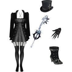 steampunk and a keyblade by kaitlynpope77 on Polyvore featuring Boohoo, Once Upon a Time, black, Sexy, gray, steampunk and keyblade