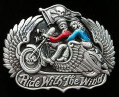 Motorcycles Ride With the Wind Skull Men Belt Buckles Boucle de Ceinture Belts