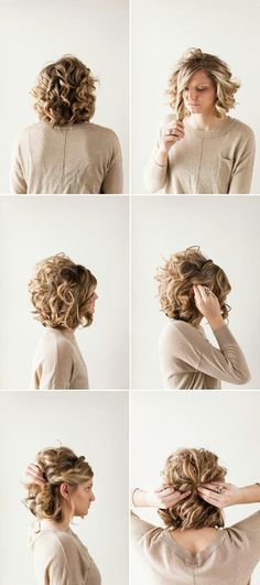 Pretty Updo Hairstyle For Short Curly Hair Prom Hairstyle Ideas 11 Cute Updos For Curly Hair 2018 Simple Prom Hair Hair Styles 5 Hairstyles That Require Zero Cu Short Hair Twist Styles, Long Hair Styles, Styling Short Hair Bob, Short Styles, Shirt Hair Styles, How To Style Short Hair, Bob Styles, Pretty Updos, Popular Haircuts