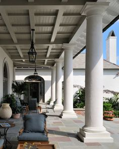 French Creole - Columned Porch - Backyard - Louisiana - Ken Tate Architect