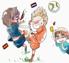 Hetalia- Netherlands and Spain playing soccer -- quite true, we Dutch people are rough at playing soccer xD