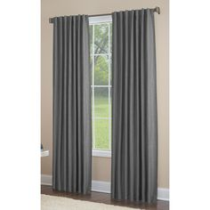 Shop allen + roth Gatton 95-in L Room Darkening Solid Grey Thermal Back Tab Window Curtain Panel at Lowes.com