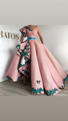 Eightree Arabic Shinning Ball Gown Pink Evening Gowns Long Party Dress Lace up Sexy One Shoulder prom Dresses robe de Soiree Evening Dresses, Prom Dresses, Formal Dresses, Quinceanera Dresses, Long Dresses, Elegant Dresses, Pretty Dresses, Couture Dresses, Fashion Dresses
