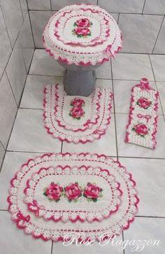 Rose Ragazzon Crochê: Jogo babado Duplo Cru & Pink
