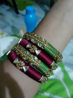 Silk Thread Jhumkas, Silk Thread Bangles Design, Silk Bangles, Silk Thread Earrings, Bridal Bangles, Thread Jewellery, Stone Necklace, Beaded Necklace, Designer Bangles