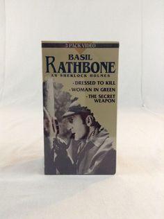 NIP Basil Rathbone As Sherlock Holmes 3 Pack VHS Tape Set Detective
