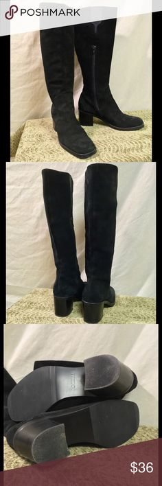 """Borelli Black Suede Boots Great classic pair of genuine Suede boots by Borelli. The Suede is in fantastic condition. These were only worn 2-3 times and the only sign of wear is on the soles. Short heel that measures approx 2.5"""". They have an elastic tab at the top so they can stretch a little. Inside-calf zipper. All around awesome boots in very good condition!! Borelli Shoes Heeled Boots"""