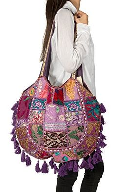 Casual Colorful Patchwork Hippie Woman Bag Tote Canvas Be...