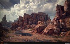 CG Inspiration — Rage - Wasteland 1 created by Justin Owens. Landscape Concept, Fantasy Landscape, Landscape Art, Fantasy Art, Desert Environment, Environment Concept Art, Environment Design, Star Wars Concept Art, Halloween Stuff