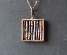 Real Twig Necklace in Genuine Wooden Square Bezel.  via Etsy.