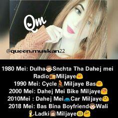 Girl Attitude, Attitude Quotes, Crazy Facts, Weird Facts, Comedy Jokes, Girly Quotes, Girls Dpz, Hindi Quotes, Girly Girl
