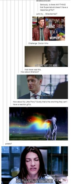 The Supernatural Family Has a GIF for Everything [I can even think of a better one for My Little Pony, lol! When Sam and Dean had to drive that one car that Dean hated, there was a toy pony hanging up that Dean angrily threw back xD ]