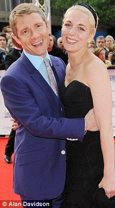 Romance: Martin Freeman with his partner Amanda Abbington, a real life love story for both actors. cute story!
