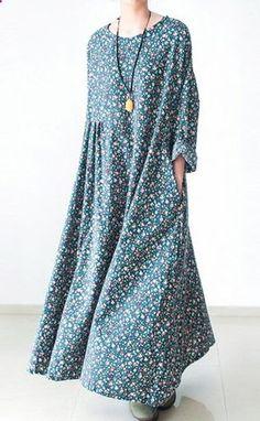 Green floral plus size cotton dresses long sleeve fall dresses print maxi dresses