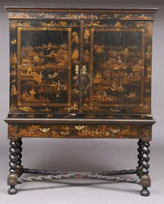 Baroque style chinoiserie furniture made with japanning  technique , a technique where many layers of dark varnish were placed over tin , metal or paper mache