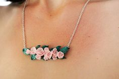 Cherry blossom necklace bridesmaid necklace pink flower necklace statement necklace minimalist necklace sakura necklace Polymer Clay Flowers Flower Jewelry pastel pink flower necklace pink necklace pink flower necklace statement necklace Bridesmaid necklace minimalist necklace romantic necklace sakura necklace Cherry blossom 40.00 USD #goriani