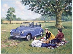 Morris minor convertible motor car picture, limited edition print from a painting by artist Kevin Walsh Morris Minor, Transport Pictures, Car Cat, E Motor, Retro Housewife, Car Drawings, Commercial Vehicle, Small Cars, Metal Signs