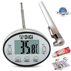 $22.95 - Digital Meat Thermometer with Instant Read - Thin Stainless Steel Probe for Cooking and Grilling Food To Perfection - Kitchen Candy and BBQ Internal Temperature Guide Plus Side Clip for Liquids.