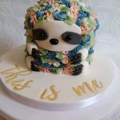Flower Sloth Cake von Little Peach Cakery – Food I will have to eat – - Cake Decorating Cupcake Ideen Pretty Cakes, Cute Cakes, Beautiful Cakes, Amazing Cakes, Sloth Cakes, Owl Cakes, Hedgehog Cake, Cupcakes Decorados, Little Peach