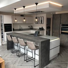 Don't be left out of a dinner conversation when cooking 👨🍳👩🍳 Discover our Italian Concrete breakfast bar perfect for entertaining guests… Contempory Kitchen, Modern Grey Kitchen, Contemporary Kitchen Design, Interior Design Kitchen, Wren Kitchen, Condo Kitchen, Kitchen Remodel, Open Plan Kitchen Living Room, Kitchen Dining Living