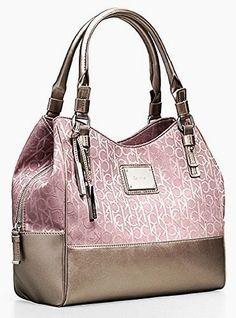 Calvin Klein Logo Jacquard Center Zip Hobo Handbag Satchel Purse Tote (Champagne)