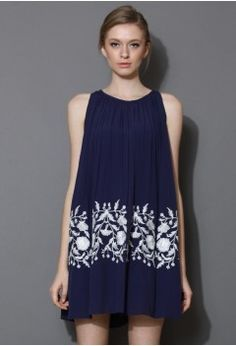 ethereal relaxed embroidered dress in blue