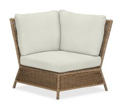 Saybrook All-Weather Wicker Corner Sectional Cushion Slipcover, Outdoor Canvas, Natural