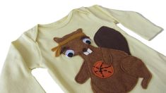 Bruce the Beaver: Hand Stitched Organic Cotton Mushpa + Mensa Designer Long Sleeve Months Onesie WithCustom EcoFi Felt Appliques My Daughter Birthday, Felt Applique, Recycle Plastic Bottles, Hand Stitching, Appliques, Cool Shirts, Really Cool Stuff, 6 Months, Hand Sewing