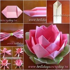 DIY Origami Paper Lotus Flower is part of Paper flowers diy - This is easy craft of paper origami that kids can make, and most of all, it's useful as home decor or candle holder Good for late spring and summer when… Instruções Origami, Paper Crafts Origami, Useful Origami, Diy Paper, Paper Crafting, Origami Ideas, Origami Wedding, Paper Flowers Diy, Flower Crafts