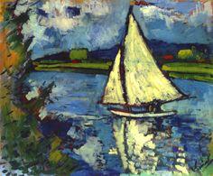 Maurice de Vlaminck, White Sailboat at Chatou (1906)