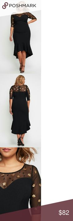 """Christian Siriano Embellished Mermaid Dress For Lane Bryant. A lovely dress for all your special occasions! Has a sheer sweetheart neckline, high-low mermaid helpline and goldtone floral embellishments on the mesh neckline and sleeves. Polyester/Spandex. 41"""" length. (Shown here worn by Amber Riley) Christian Siriano Dresses"""